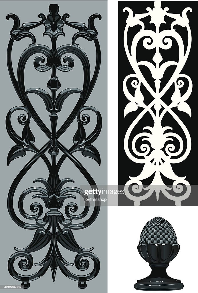 Wrought Iron Scroll Detail Background : stock illustration