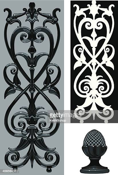 wrought iron scroll detail background - architectural feature stock illustrations, clip art, cartoons, & icons