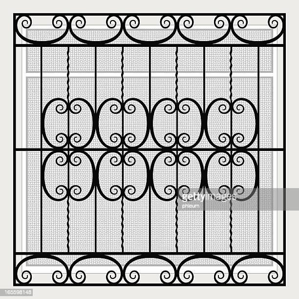 ilustraciones, imágenes clip art, dibujos animados e iconos de stock de de hierro forjado ventana grille y pantalla - ventana