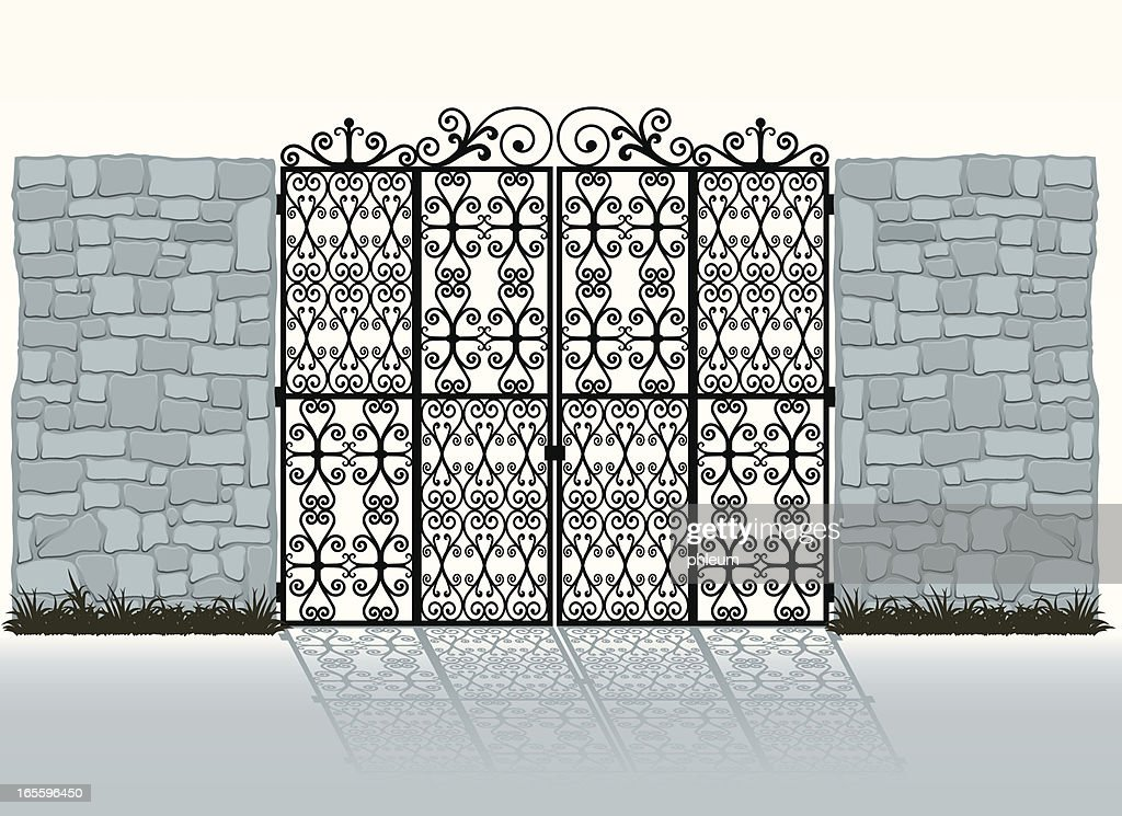 Wrought-iron gate and stone wall
