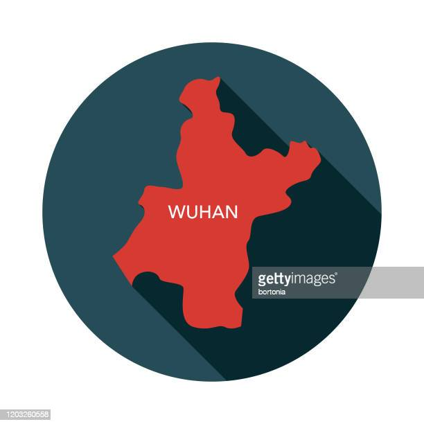 wuhan, china map icon - wuhan stock illustrations