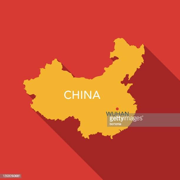 ilustrações de stock, clip art, desenhos animados e ícones de wuhan, china map icon - china