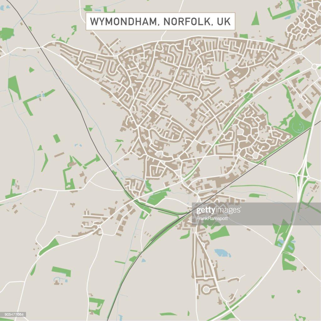 Wymondham Norfolk Uk City Street Map Vector Art Getty Images