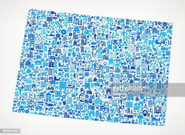 Wyoming Construction Industry Vector Icon Pattern