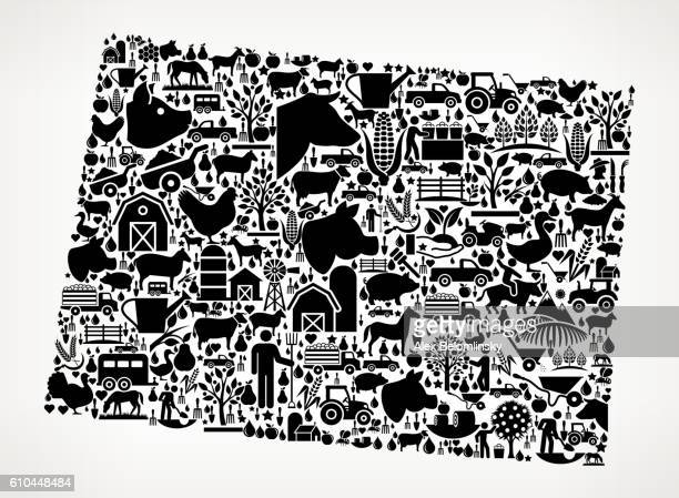 Wyoming Farming and Agriculture Black Icon Pattern