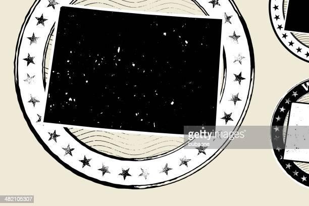 Wyoming Grunge Map Black & White Stamp Collection