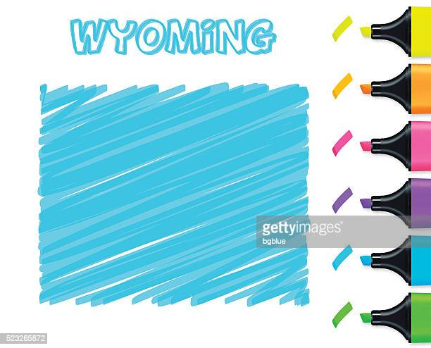 Wyoming map hand drawn on white background, blue highlighter
