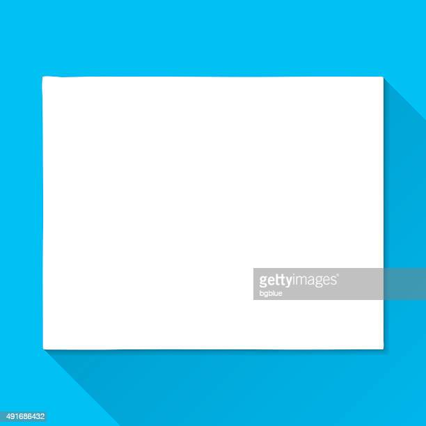 Wyoming Map on Blue Background, Long Shadow, Flat Design