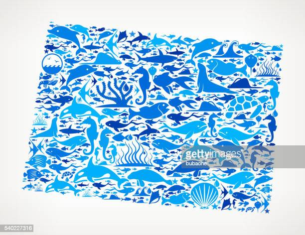 Wyoming Ocean Marine Life Blue Icon Pattern