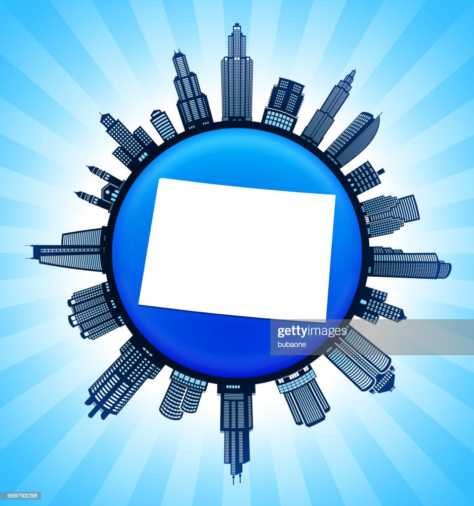 Wyoming State Karte auf demokratische Blue City Skyline Hintergrund : Stock-Illustration