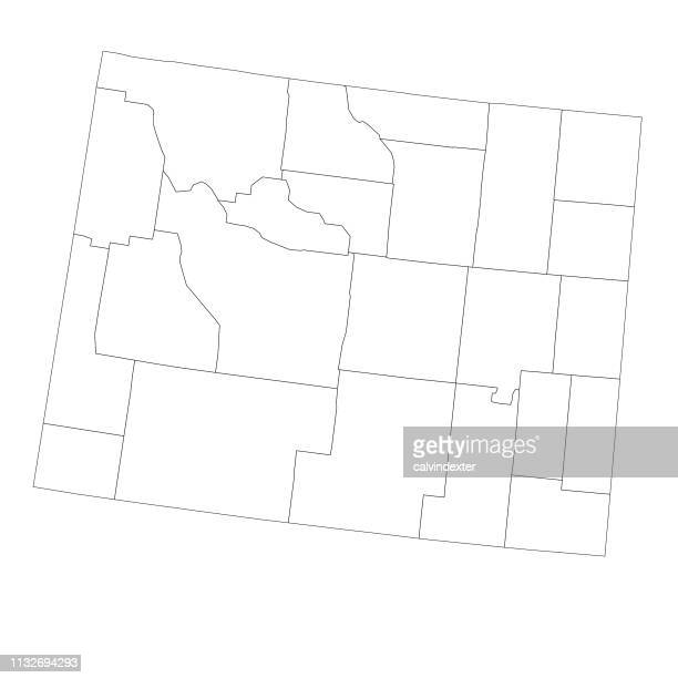 Wyoming state map with counties