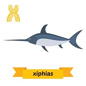 Xiphias. X letter. Cute children animal alphabet in vector. Fun