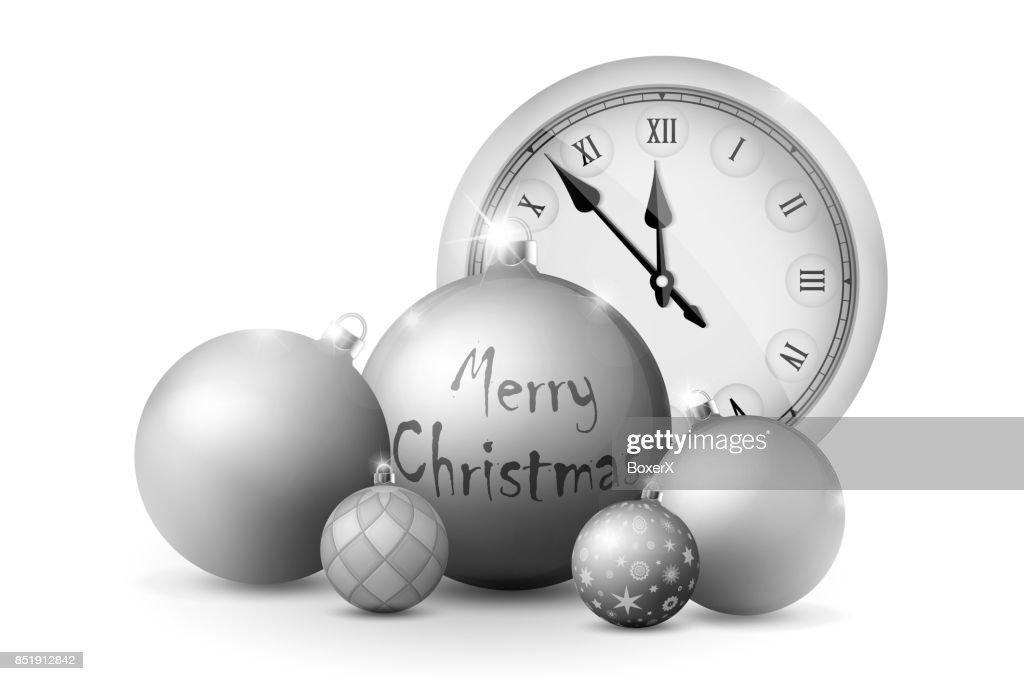 Silberne Weihnachtskugeln.Weihnachten Und Neujahr Dekorationen Silberne