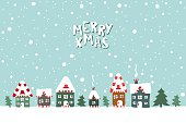 Xmas card. Illustration of houses on a snowy background