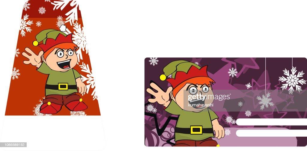 xmas funny elf kid cartoon gift card collection set5