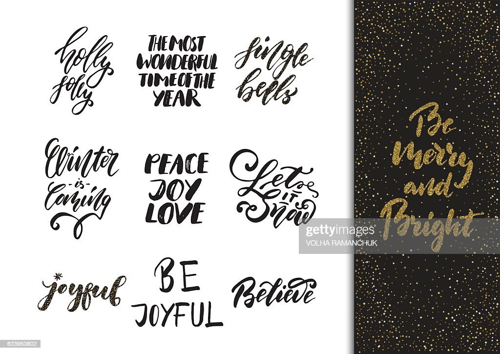Xmas hand drawn calligraphy and brush pen lettering set.
