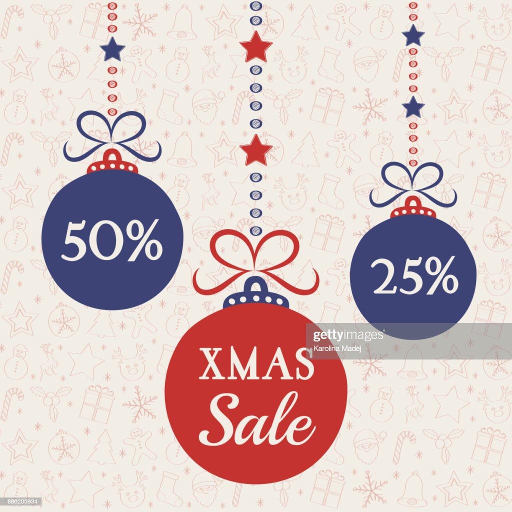 Xmas Sale Plakat Für Weihnachtsverkauf Mit Kugeln Vektor ...