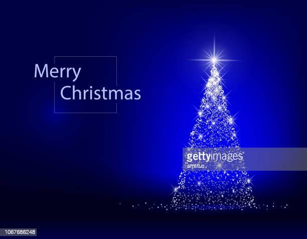 ilustrações, clipart, desenhos animados e ícones de árvore de natal azul - iluminado