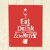 Xmas tree eat drink be merry illustration vector design