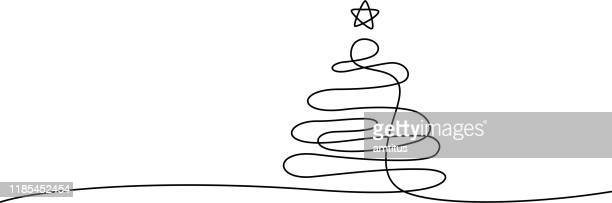 xmas baum linie kunst - illustration stock-grafiken, -clipart, -cartoons und -symbole