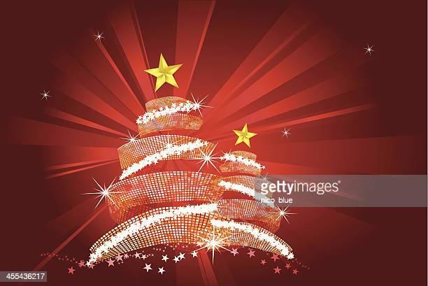 weihnachten bäume auf roten starburst - corona sun stock-grafiken, -clipart, -cartoons und -symbole