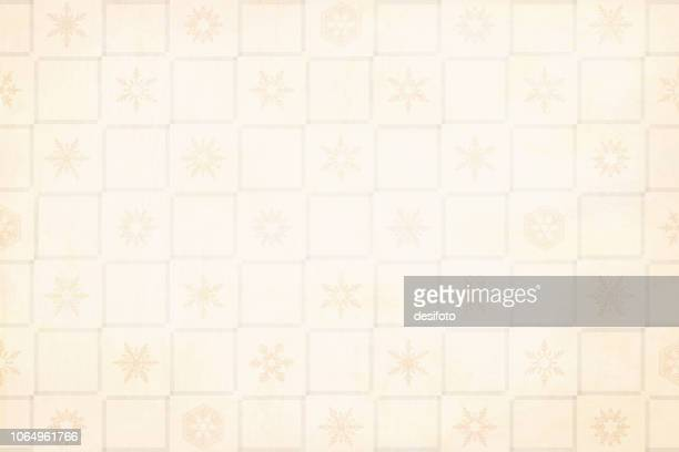 Xmas vector Illustration on a pale grunge beige background. Effect of squares formed by weaving stripes. Christmas snowflakes in alternate squares.
