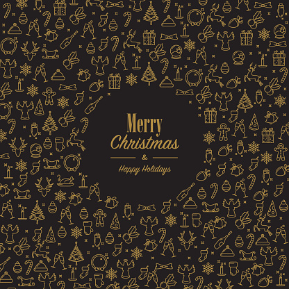Xmas wishes with golden xmas icons - gettyimageskorea