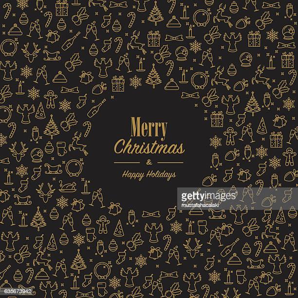 ilustraciones, imágenes clip art, dibujos animados e iconos de stock de xmas wishes with golden xmas icons - galletas navidad