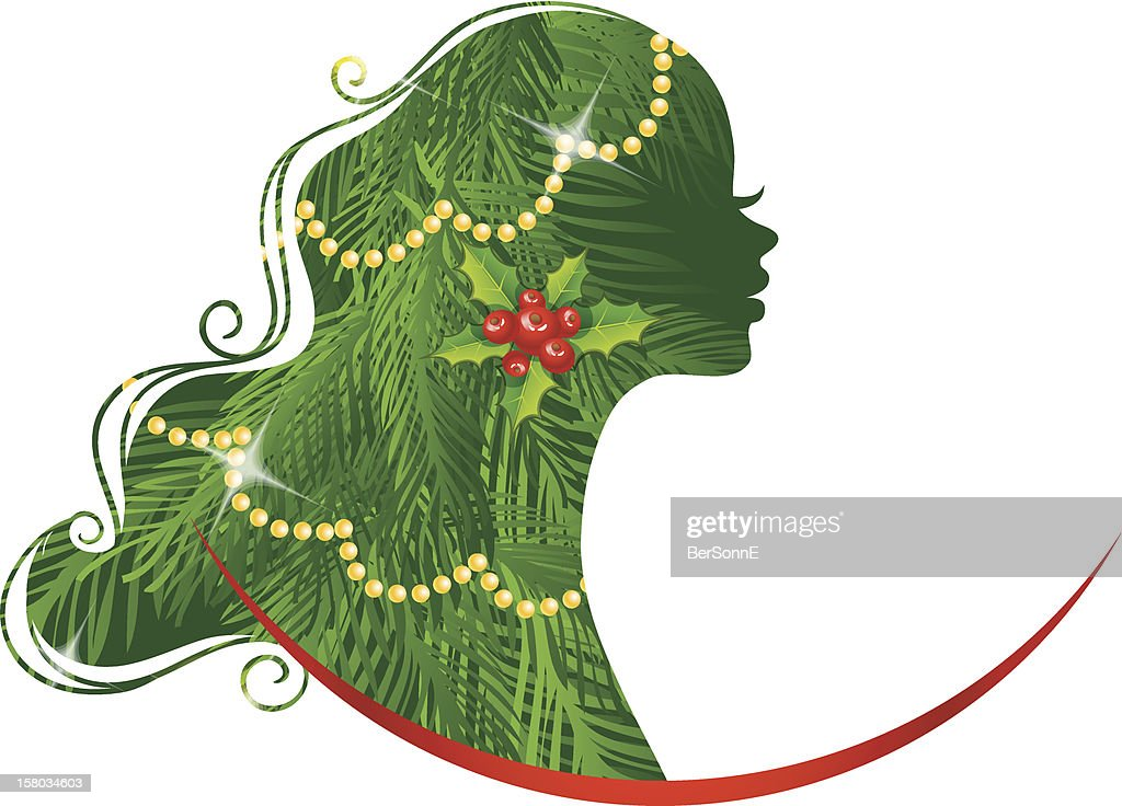 Xmas womans silhouette green