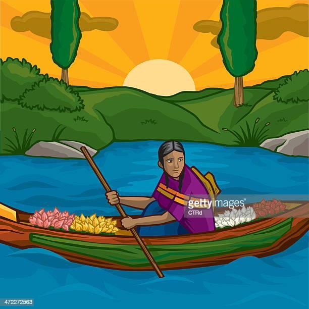 xochimilco floating flower shop - latin american culture stock illustrations
