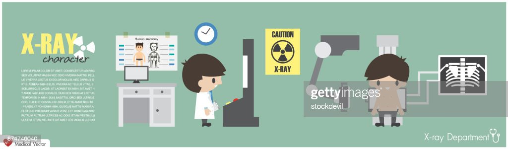X-ray Department . Radiological technologist is imaging at chest of patient . Vector . Flat design