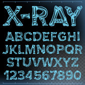 X-ray Font Vector. Transparent Roentgen Alphabet. Radiology 3D Scan. Abc. Blue Bone. Medical Typography. Capitals Letters And Numbers. Isolated Illustration