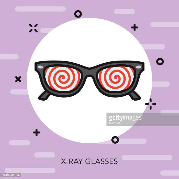 x-ray glasses thin line april fools day icon - hypnosis stock illustrations, clip art, cartoons, & icons