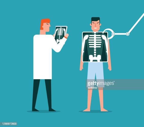 x線 - 人間の骨格 - 放射線技師点のイラスト素材/クリップアート素材/マンガ素材/アイコン素材