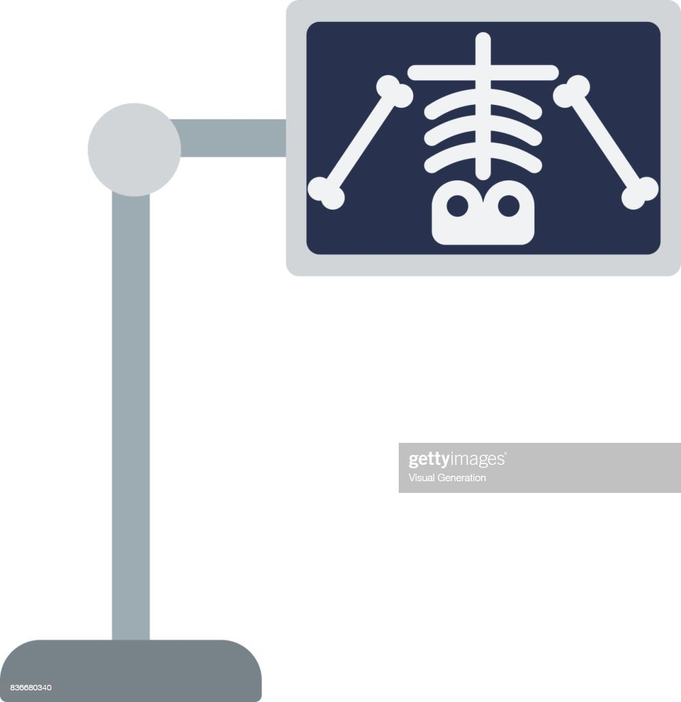 X-ray machine with image of skeleton