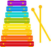 Xylophone baby toy in flat design. Vector cartoon illustration.
