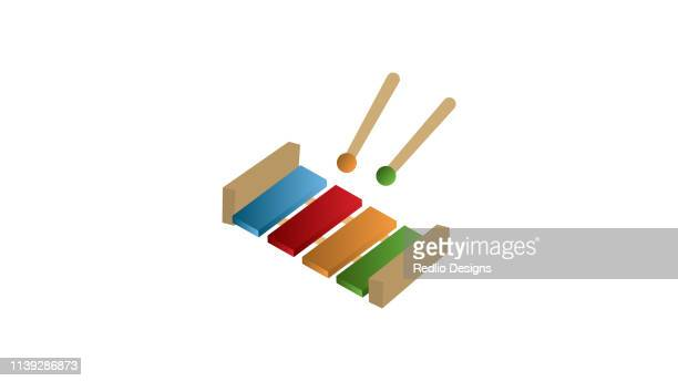 xylophone children's toy icon - percussion mallet stock illustrations