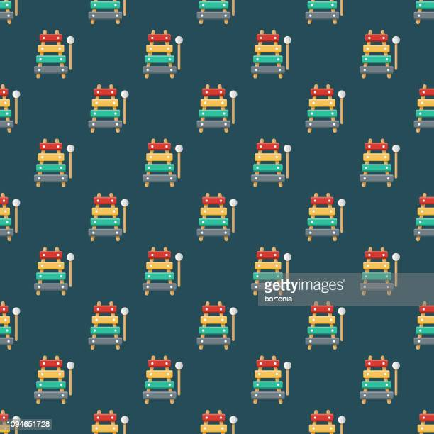 xylophone children's toy seamless pattern - percussion mallet stock illustrations