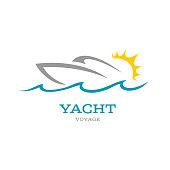 Yacht club symbol. Sea or ocean trip adventure concept symbol.