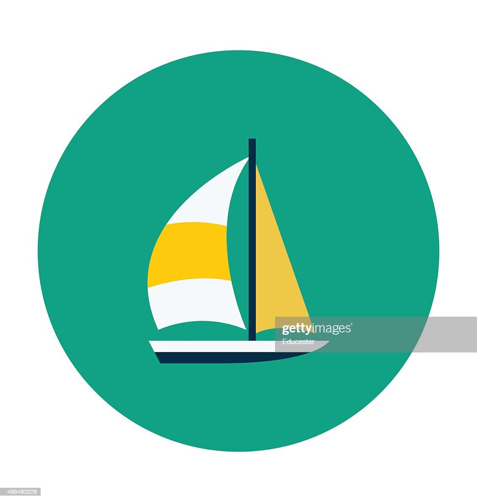 Yacht Colored Vector Icon
