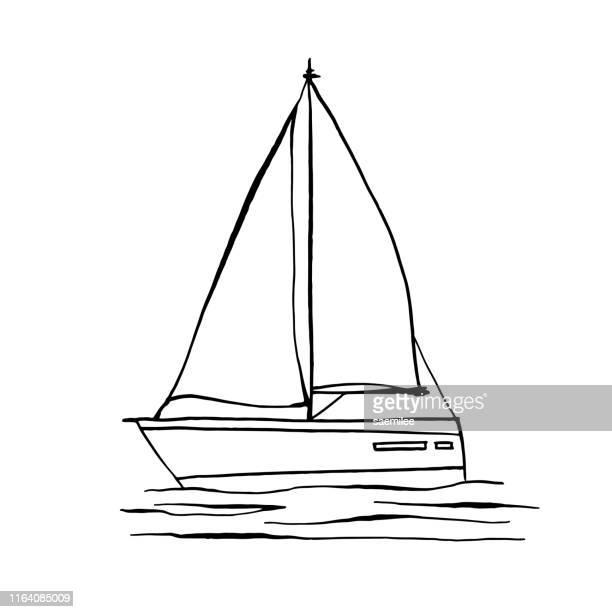 illustrations, cliparts, dessins animés et icônes de dessin de yacht - voilier noir et blanc
