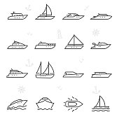 Yacht, icon set. yachts, linear icons. Line with editable stroke