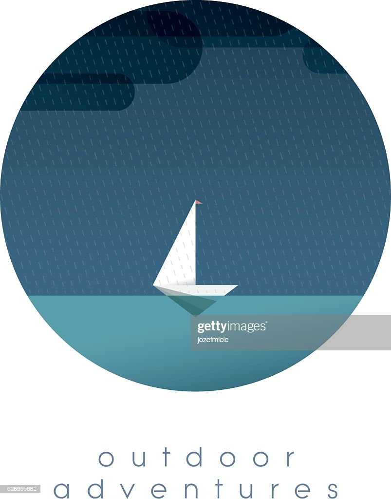 Yacht on the ocean in simple minimalistic polygonal style vector