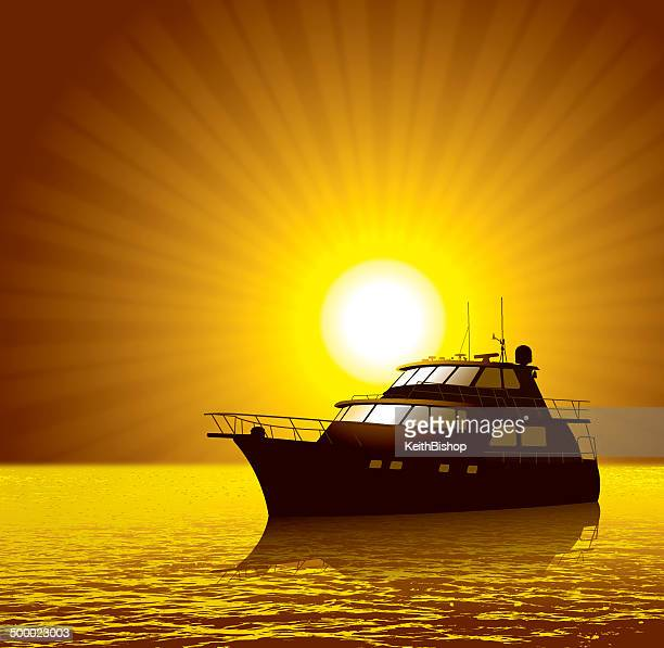 Yacht or Luxury Boat with Sunset Background