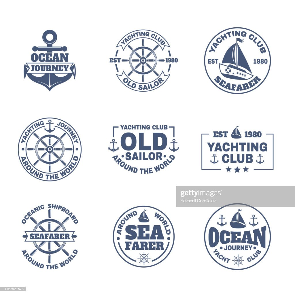 Yacht or ship, boat icons for nautical travel