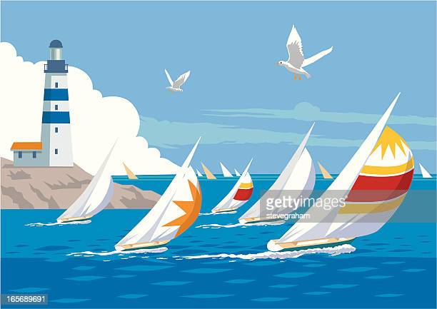 ilustraciones, imágenes clip art, dibujos animados e iconos de stock de yacht de raza - faro