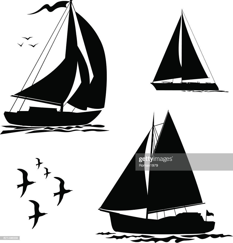 Yacht, sailboats and gull set