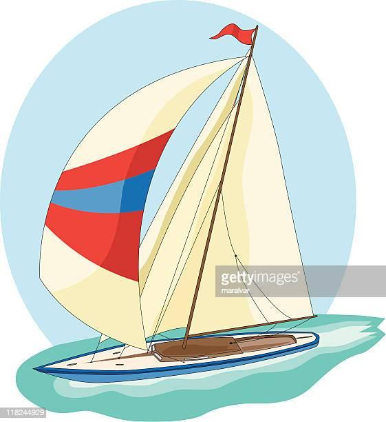 yacht sailing ship - sail stock illustrations, clip art, cartoons, & icons