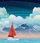 Yacht, sea, mountain and night sky. Summer landscape.