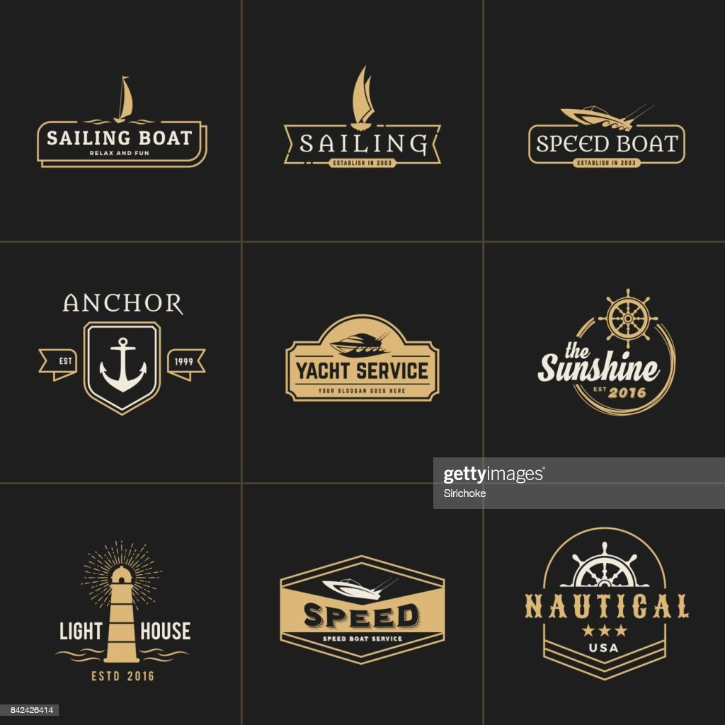 yachting and sailing vintage emblem template